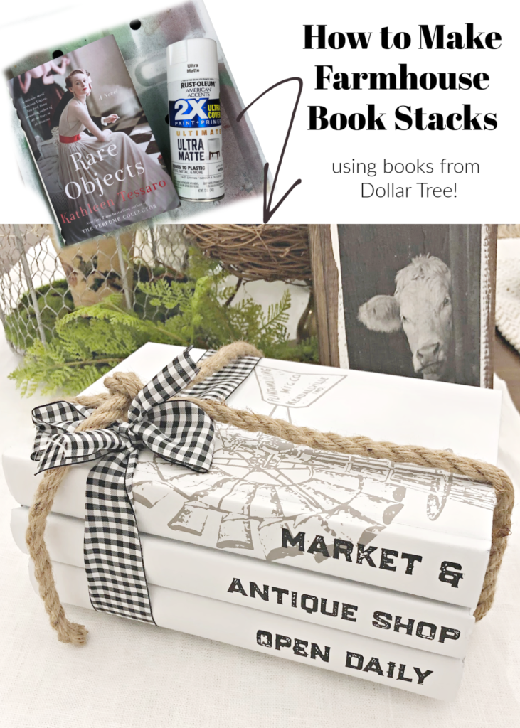 Painted Book Stacks farmhouse style