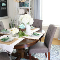 Upholstered chairs plus open shelving in the dining room