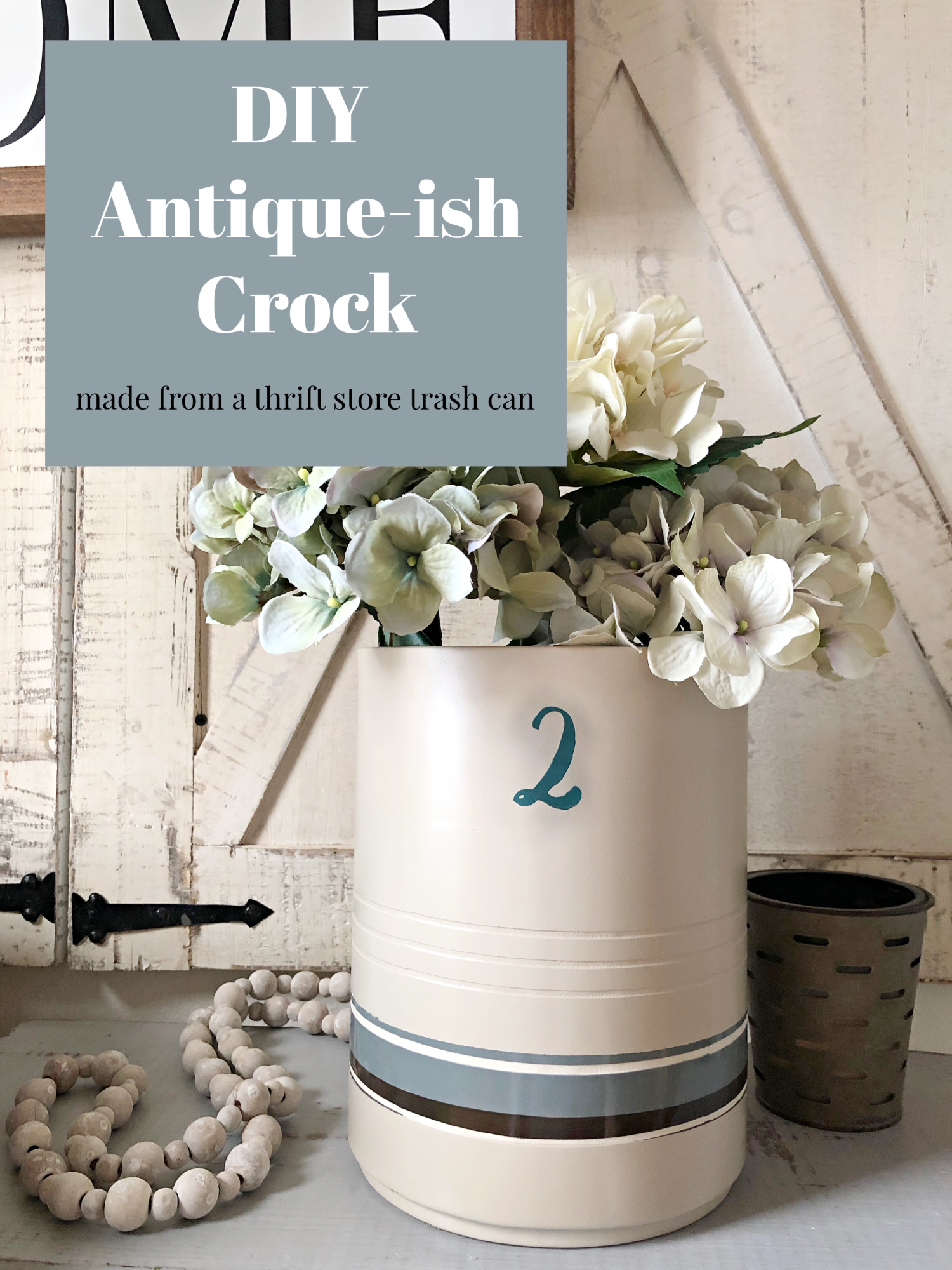 before and after Antique Crock DIY thrift store find