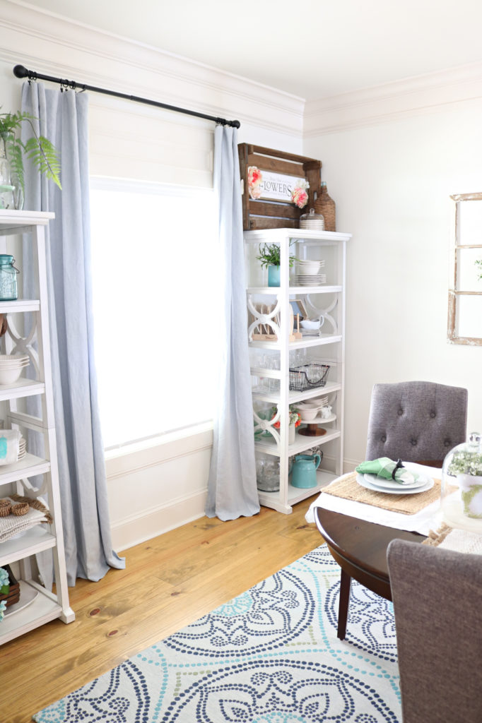 dining room with open storage