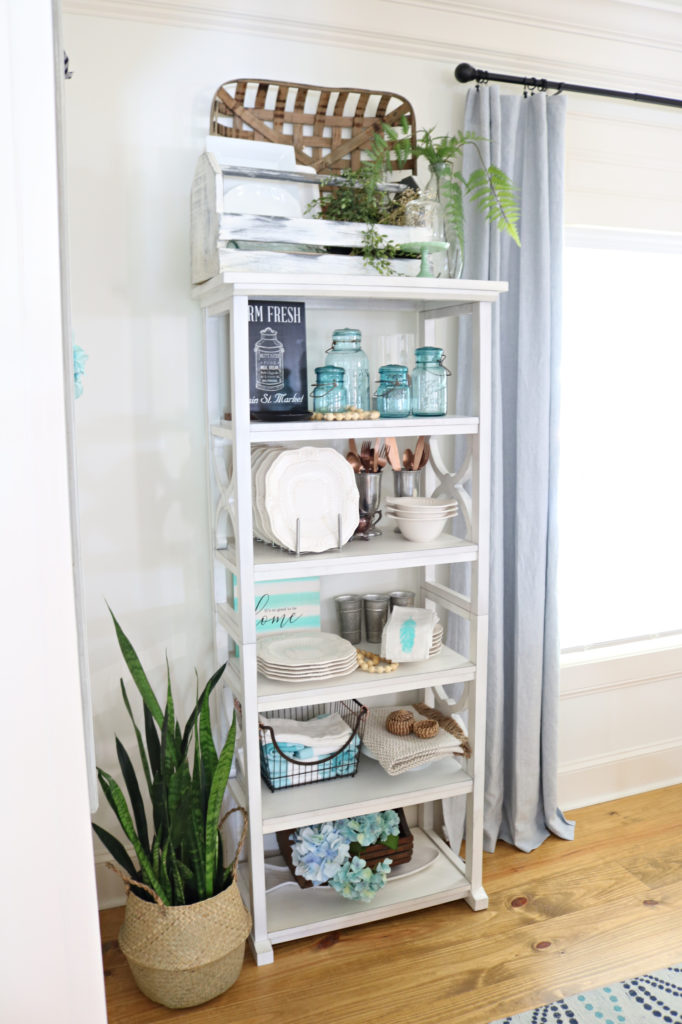 white open shelves