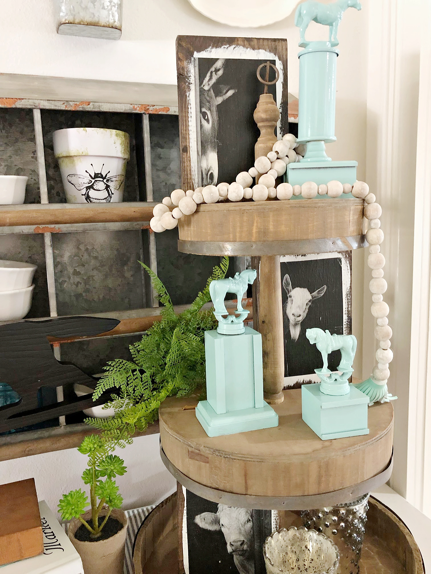 Trophies for tiered shelf