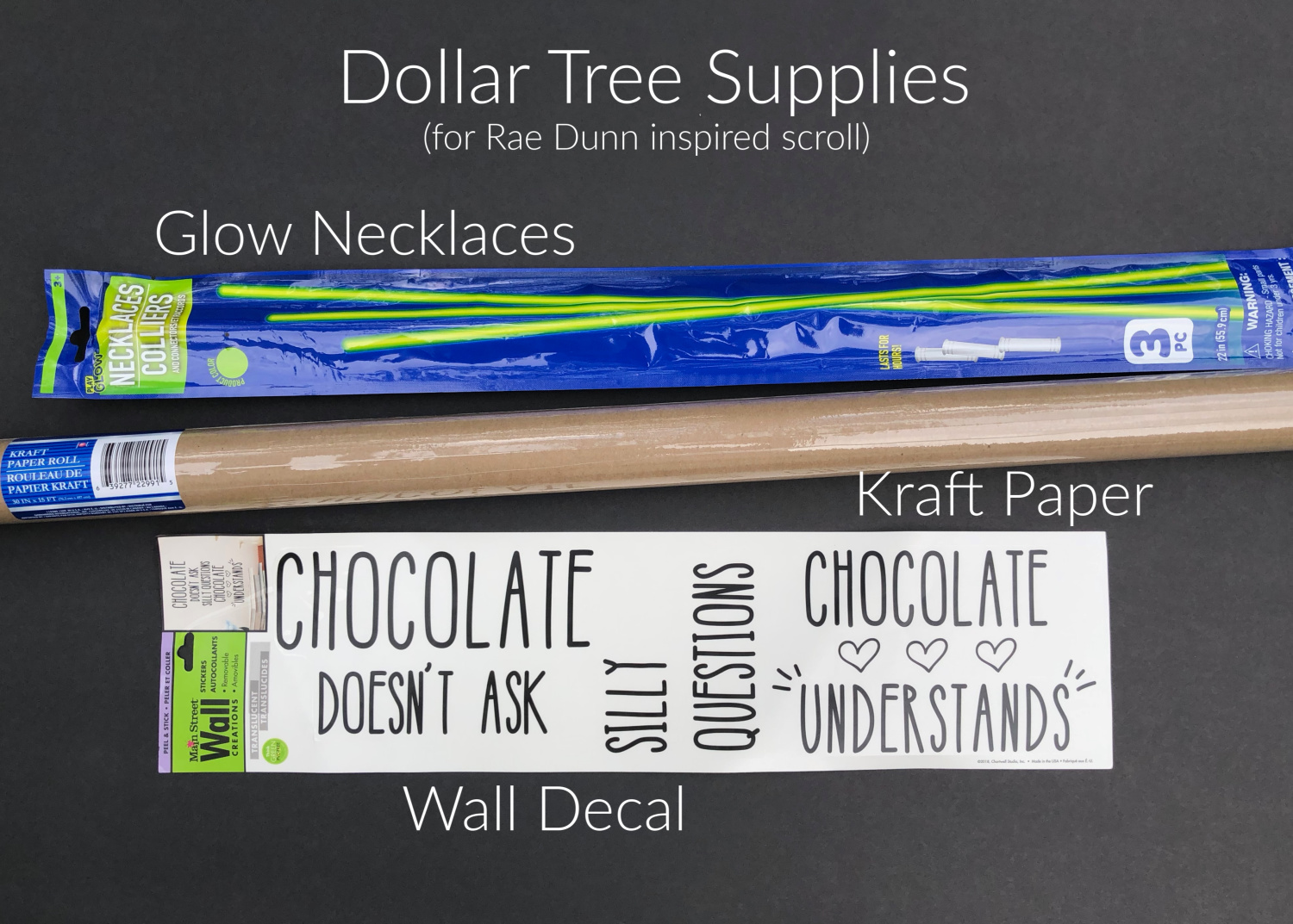 dollar tree supplies fir Rae Dunn inspired scroll wall decor