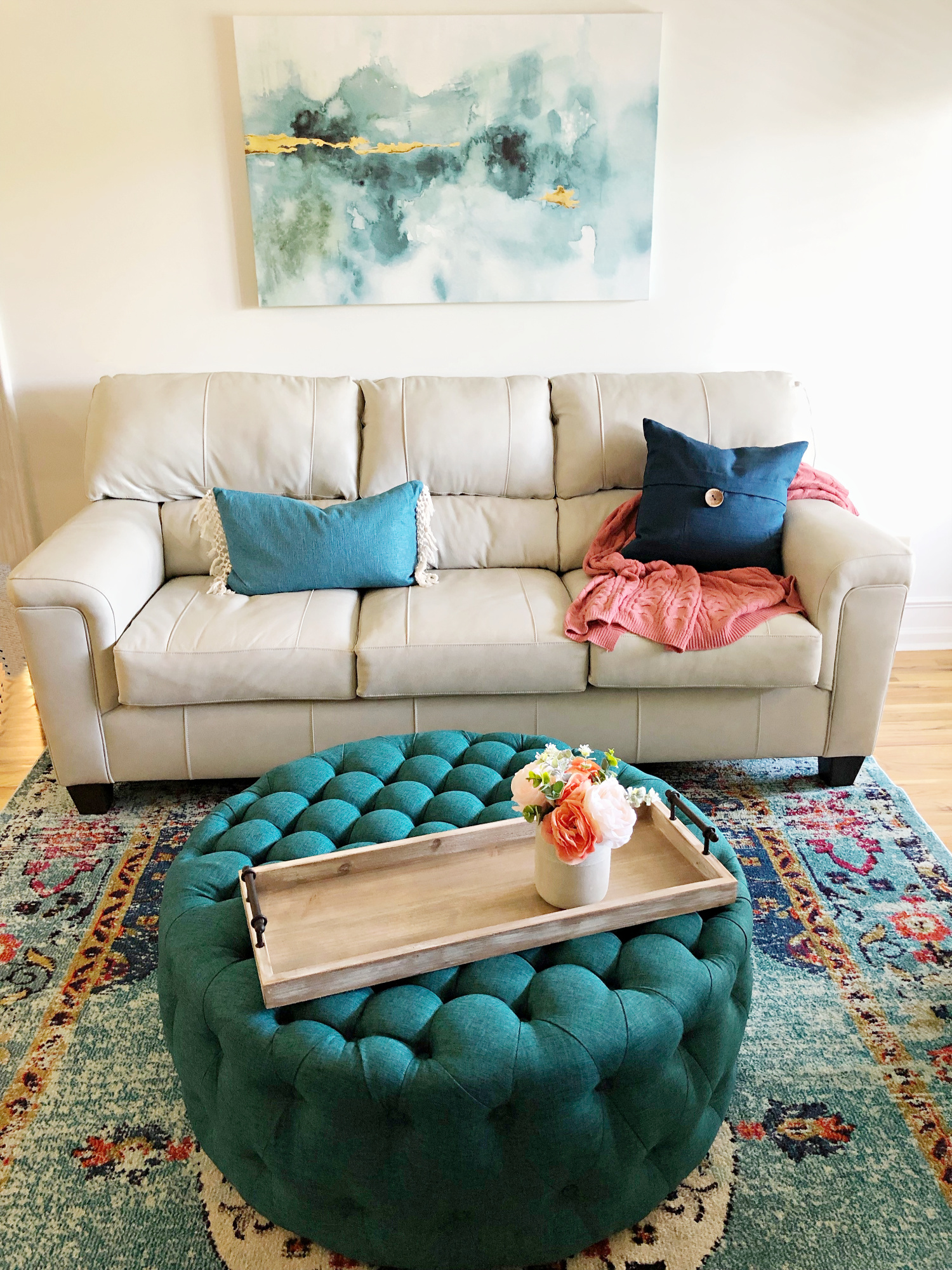 Living room art ottoman rug teal - TEAL LIVING ROOM DECOR - LAKE CONDO or Beach
