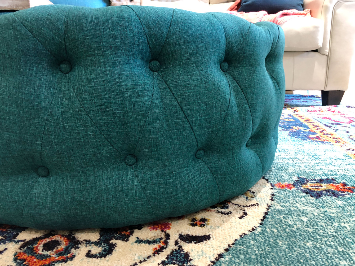 Round Teal Ottoman - TEAL LIVING ROOM DECOR - LAKE CONDO or Beach