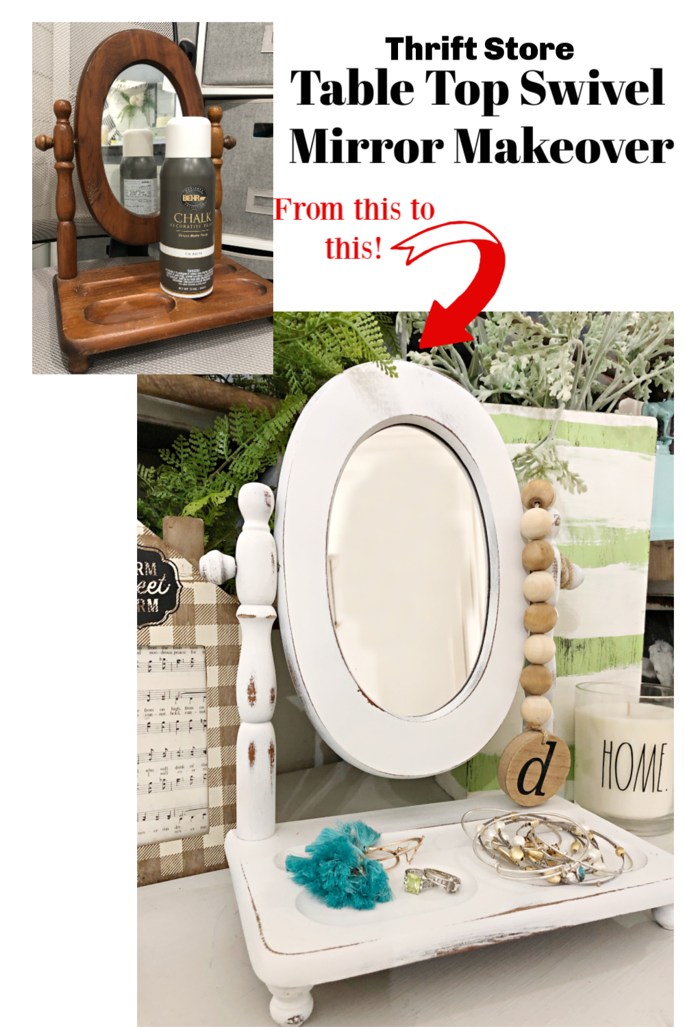Thrift Store Table top mirror makeover
