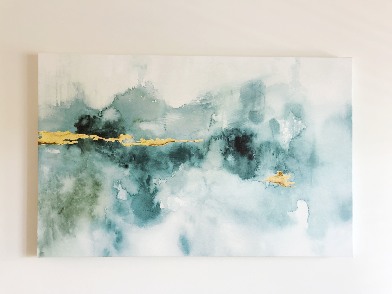 abstract art with teal and gold - TEAL LIVING ROOM DECOR - LAKE CONDO or Beach