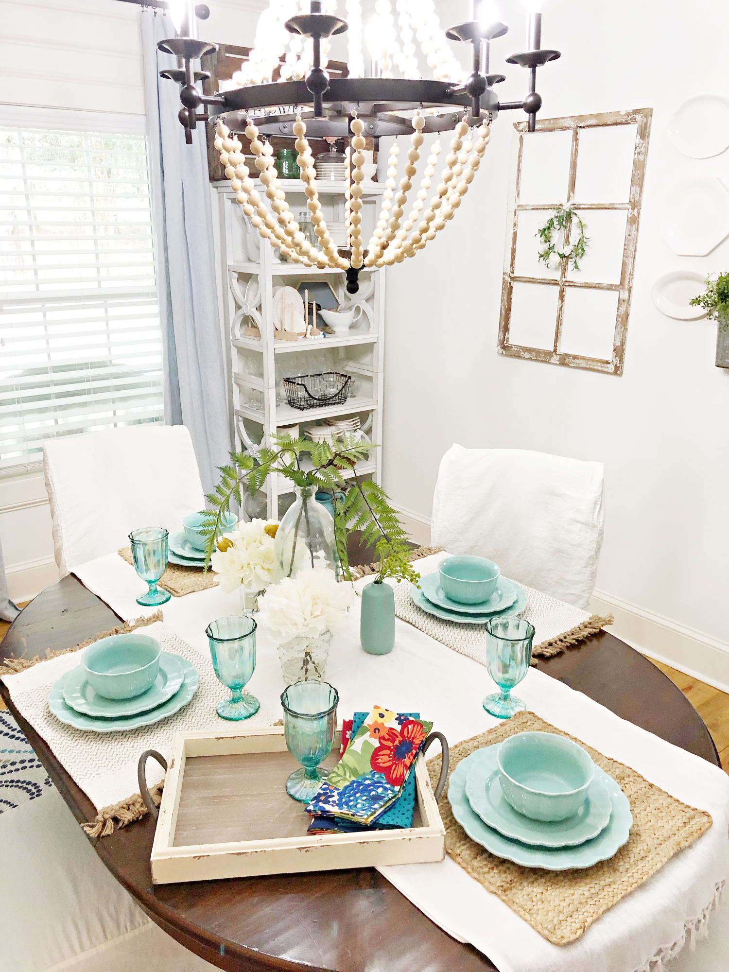 table set with vintage farmhouse