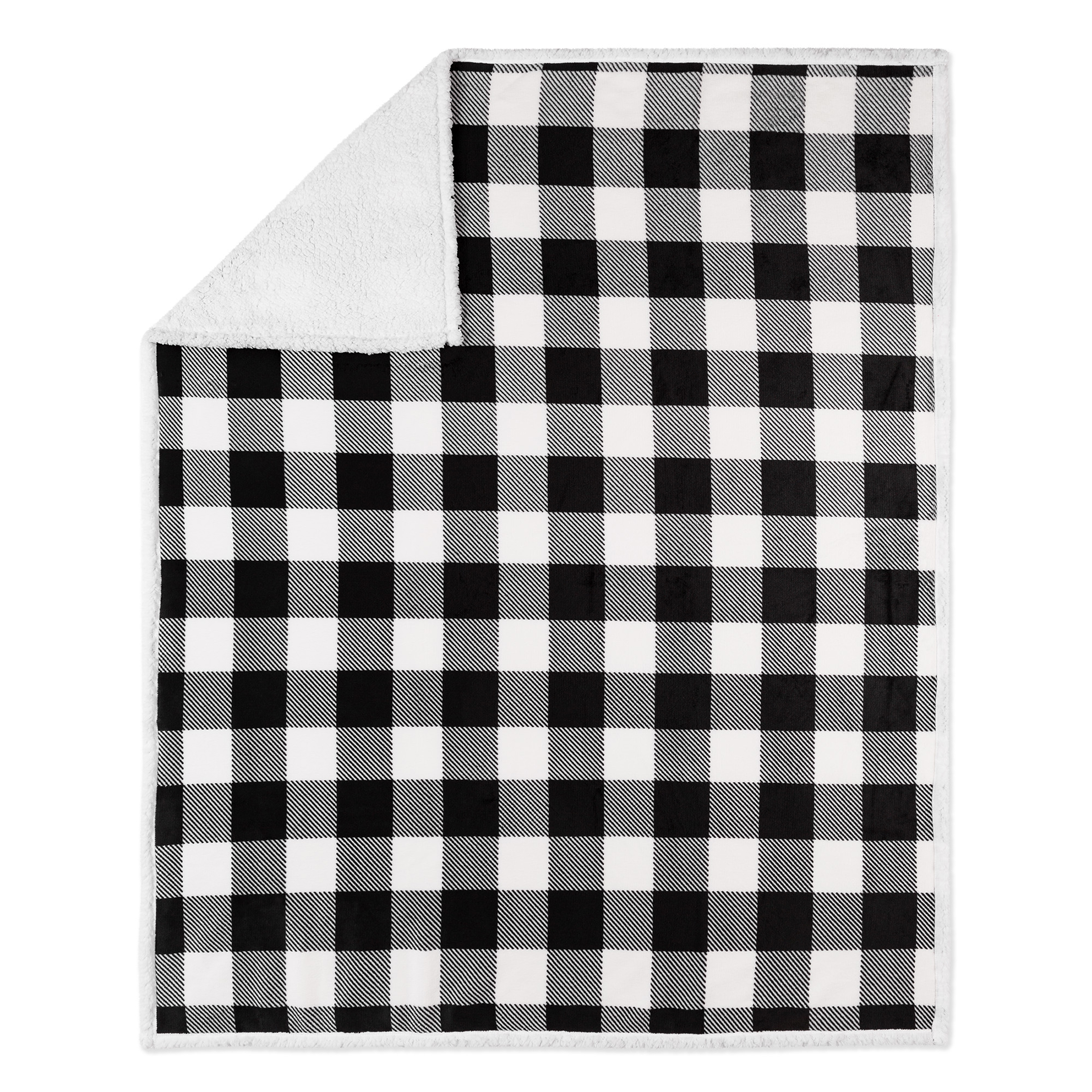 Black and white plaid blanket