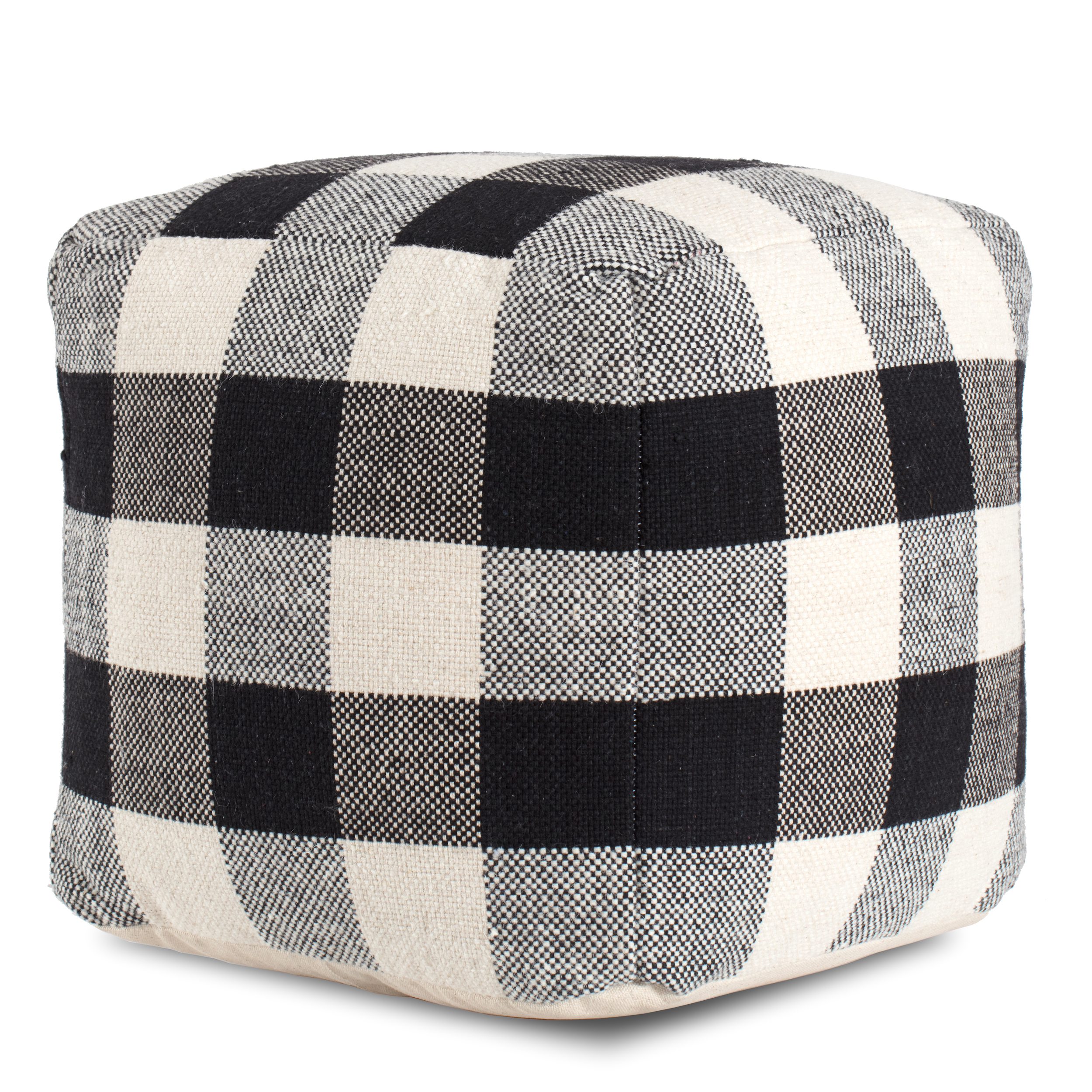 Black and white plaid poof
