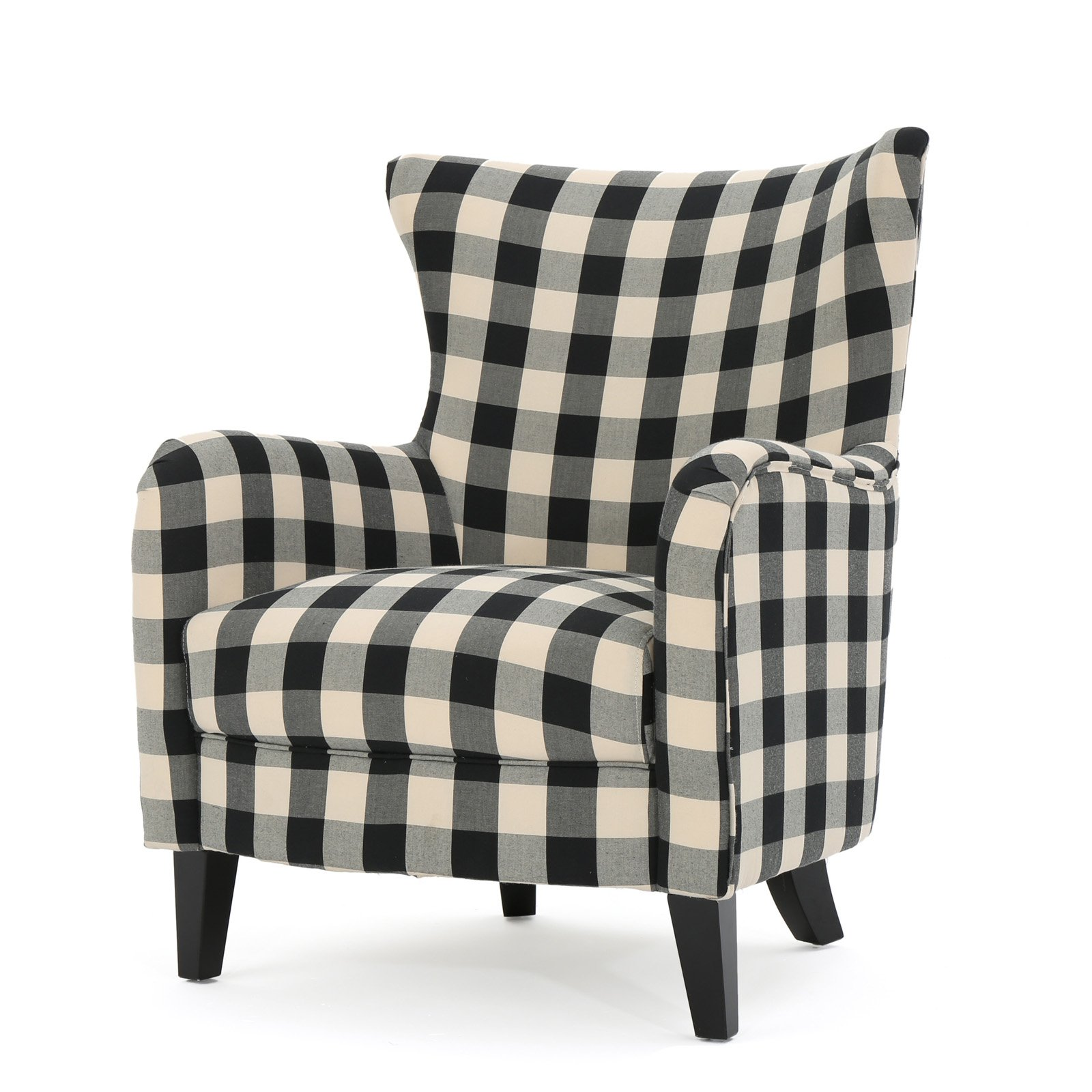 Plaid black and white chair