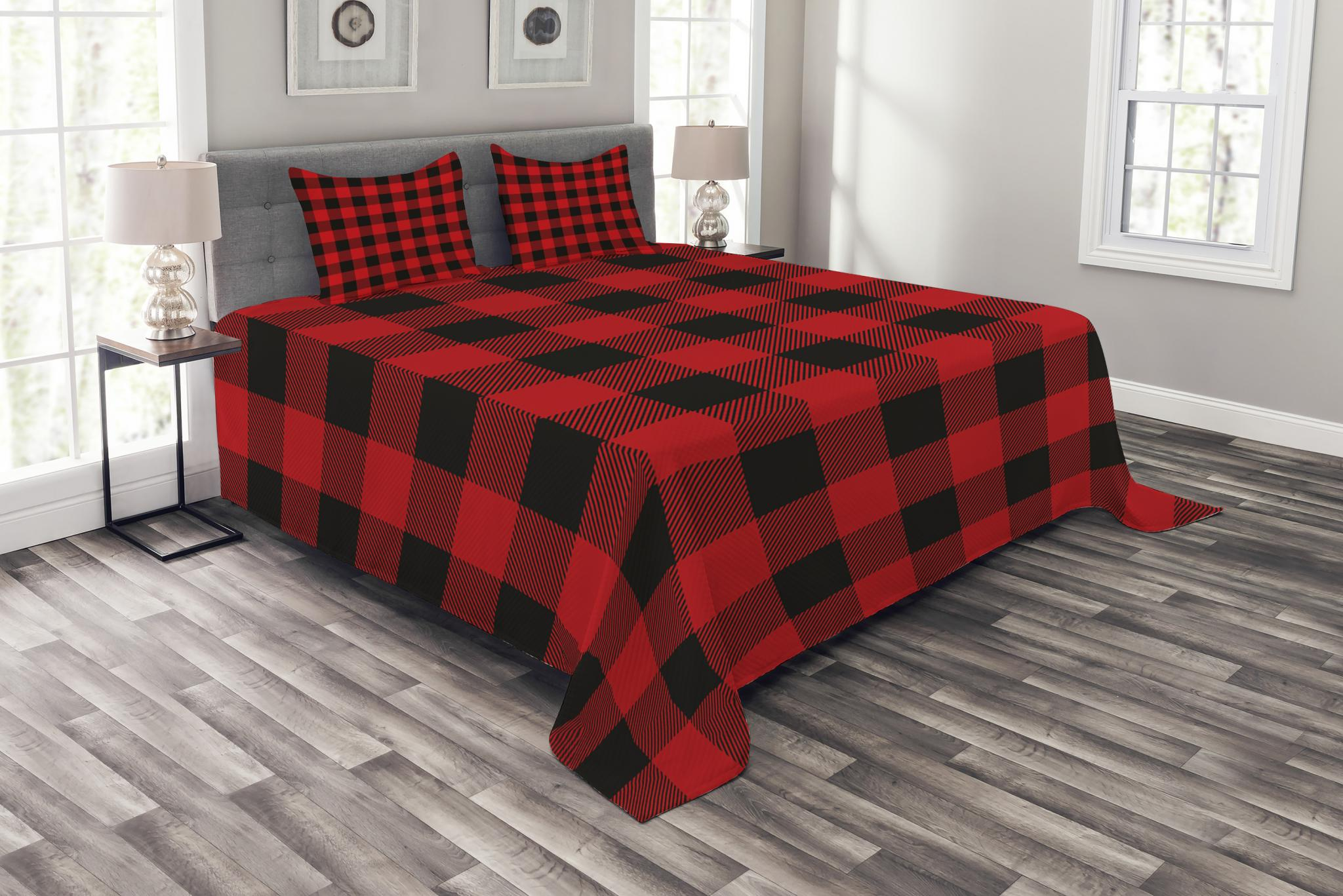 Red and black bed spread