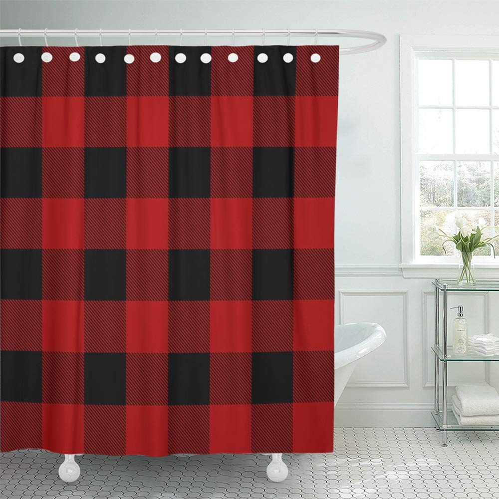 Red buffalo plaid shower curtain