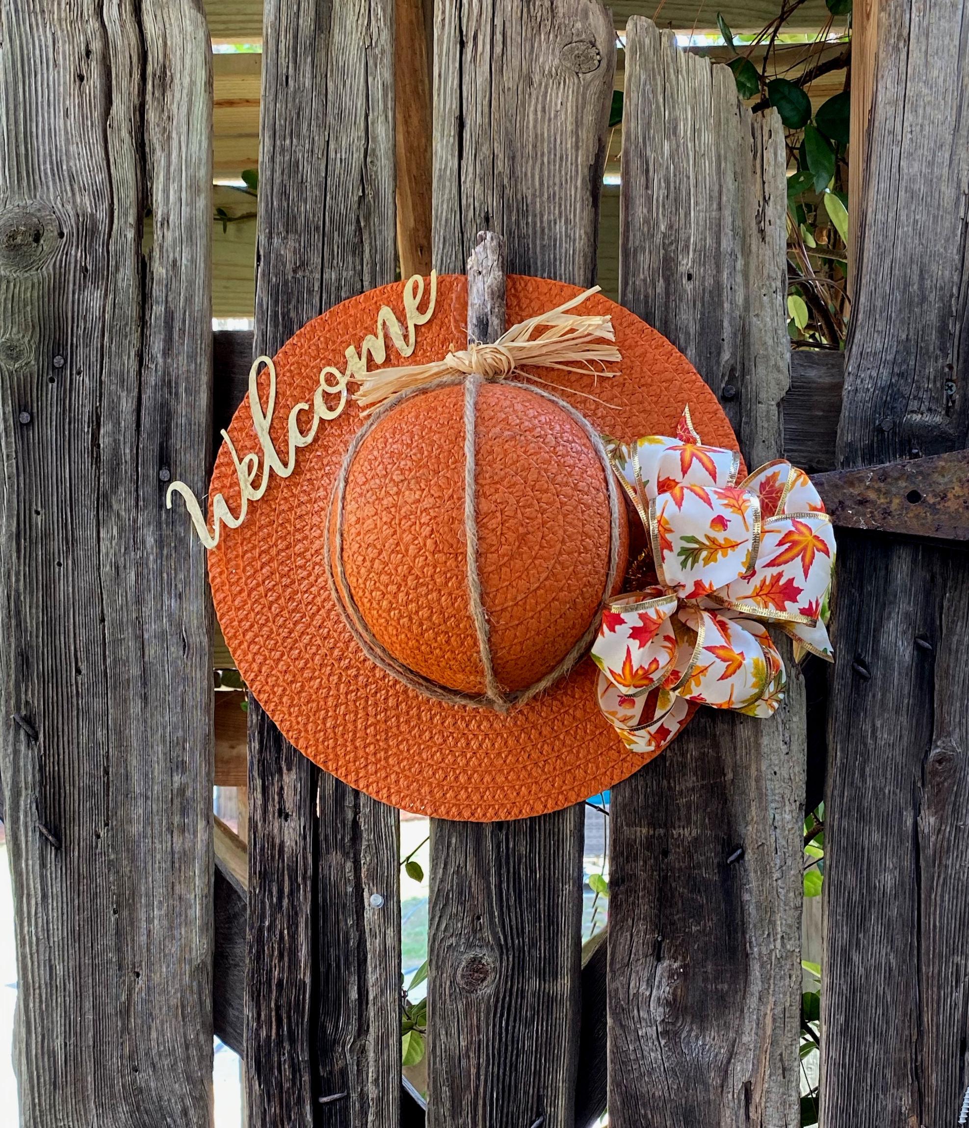 Fall Door Pumpkin Hat Idea
