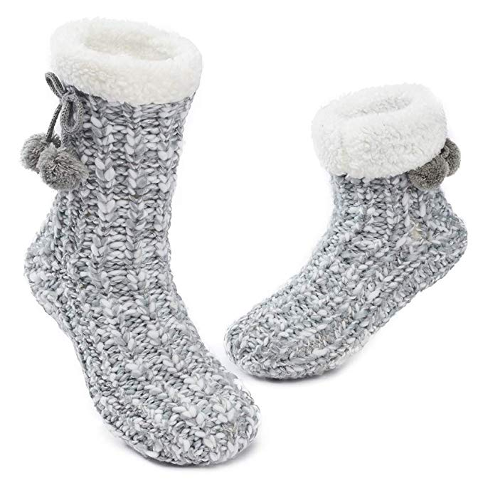 Grey Pom Pom Slipper Socks | Warm and Cozy Gift Ideas
