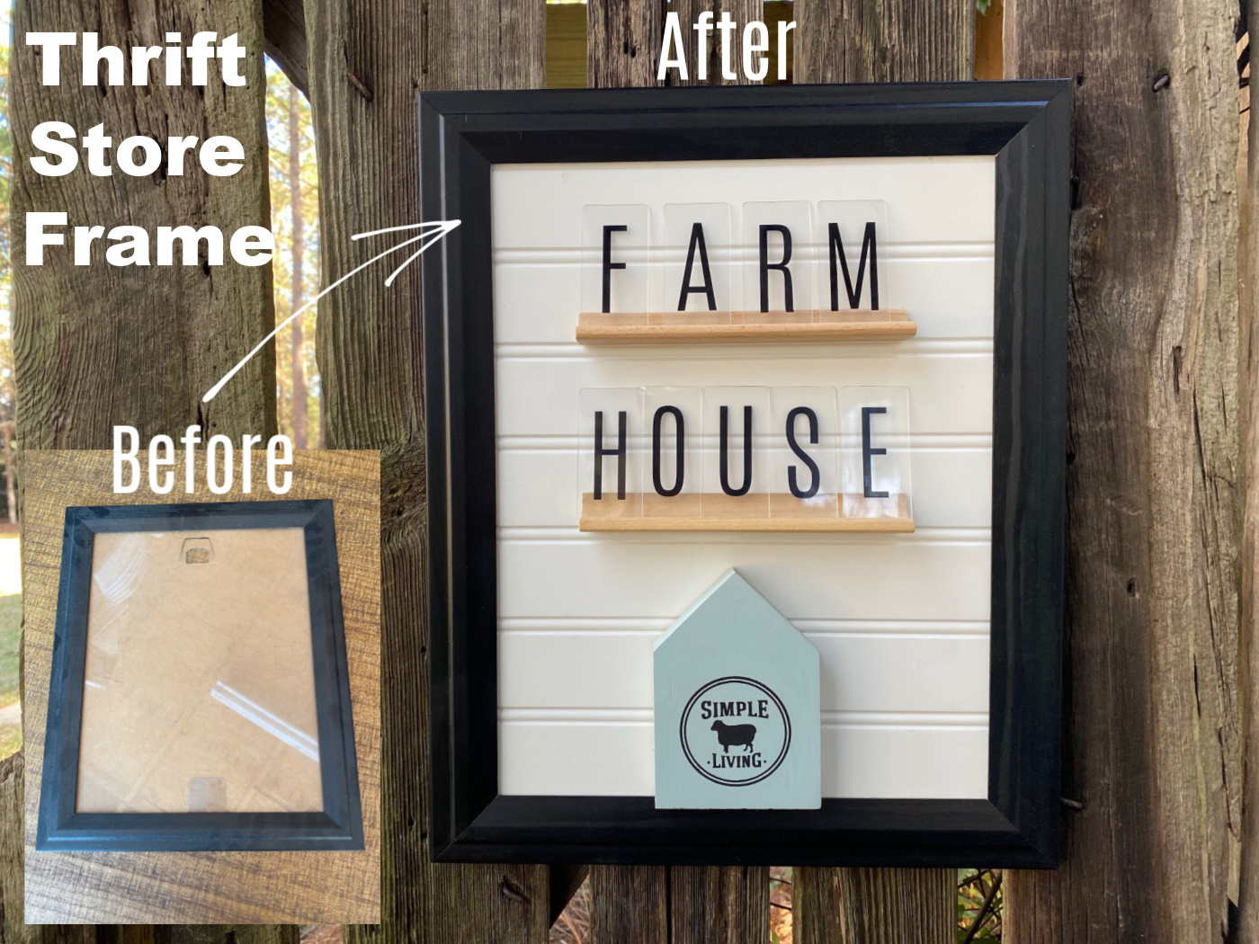 thrift store frame makeover