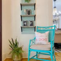 Shelf made from thrift store shutter